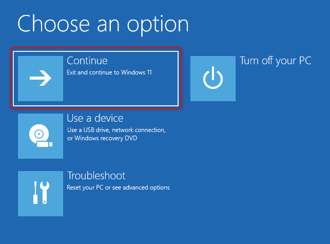 Select Continue to boot into Windows normally