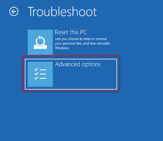 Go to Troubleshoot, then click on Advanced Options
