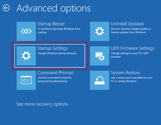 Click or tap on Startup Settings to change Windows startup behavior