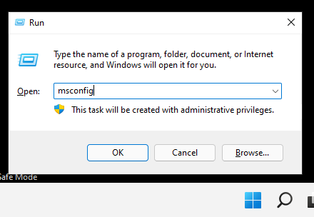 Run System Configuration in Safe Mode by typing msconfig