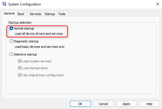 Select Normal startup in System Configuration to exit Safe Mode