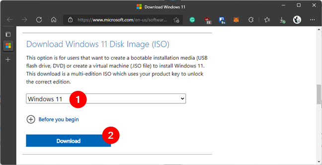 Download a Windows 11 ISO image file