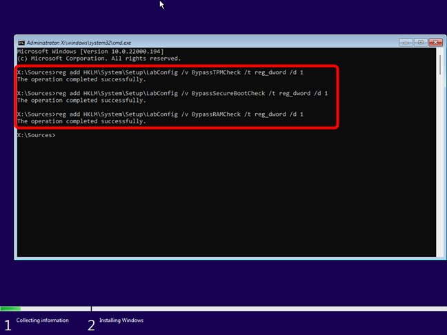 The commands that bypass Windows 11's TPM, SecureBoot, and RAM checks