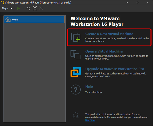 Create a new virtual machine in VMware Workstation Player Free