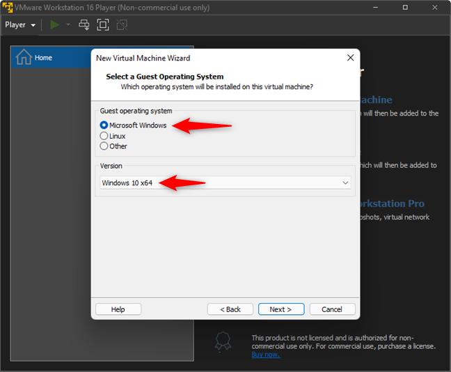 Choose Microsoft Windows and Windows 10 x64