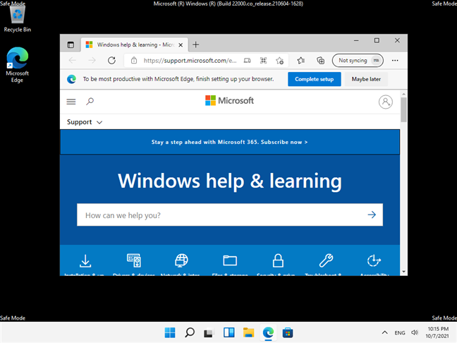 Safe Mode with Networking in Windows 11