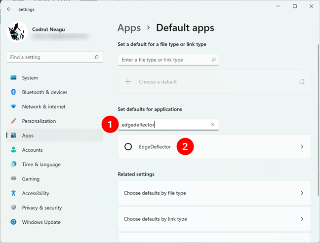 Searching for EdgeDeflector in the Settings' Default apps