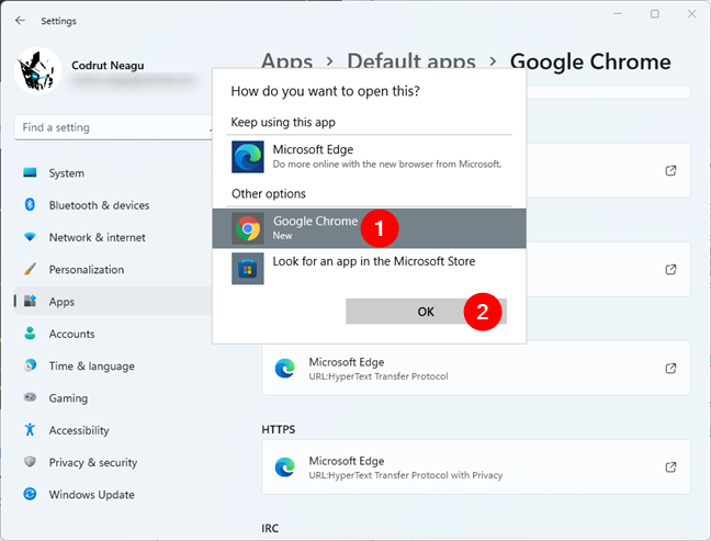 Selecting the new default web browser in Windows 11