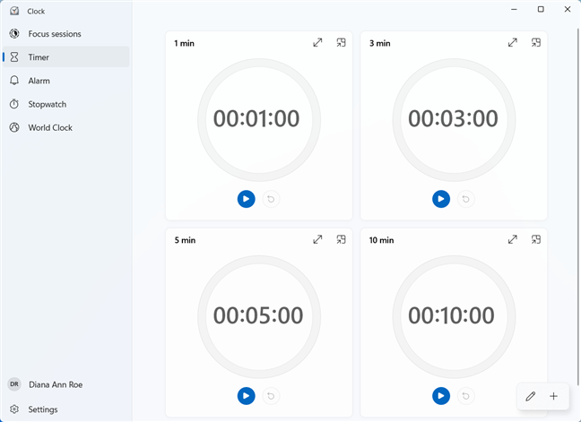 Set a Timer in the Windows 11 Clock app