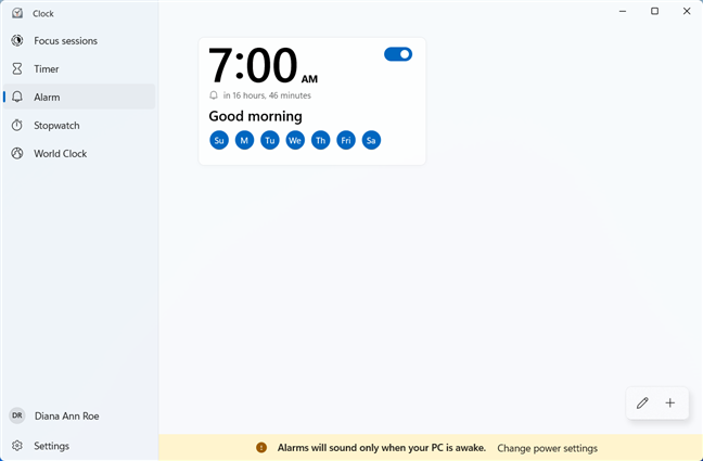 Set an Alarm in the Windows 11 Clock app