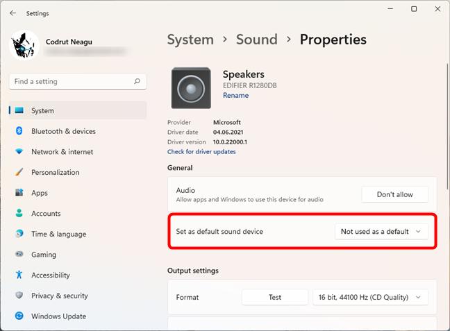 Set as default sound device