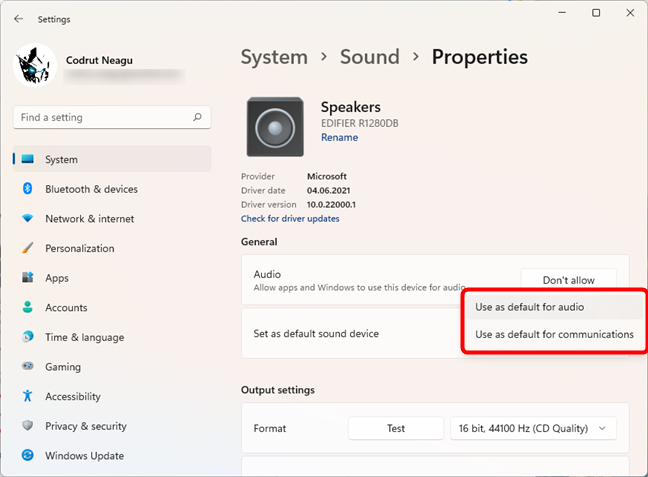 Select the speakers as default for audio and/or communications