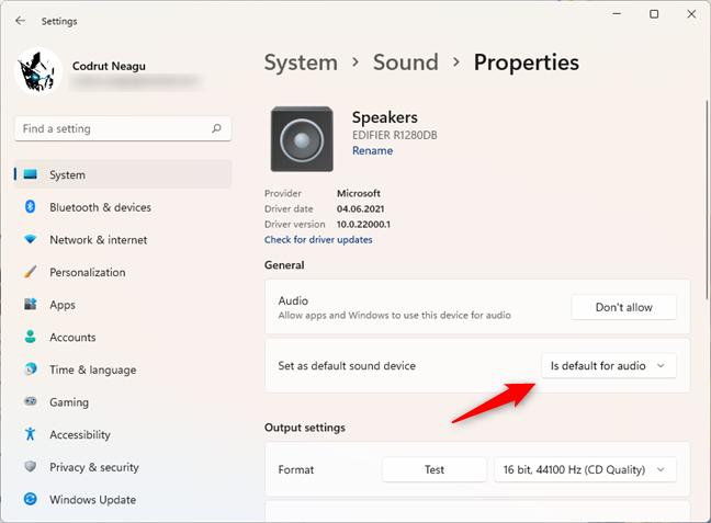 Speakers are set as default in Windows 11