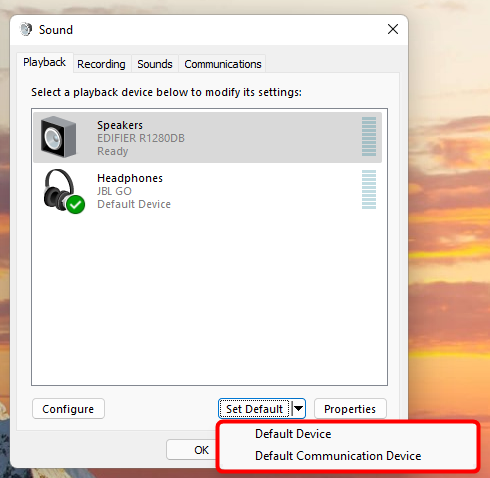 Set selected speakers as default for audio and/or communications