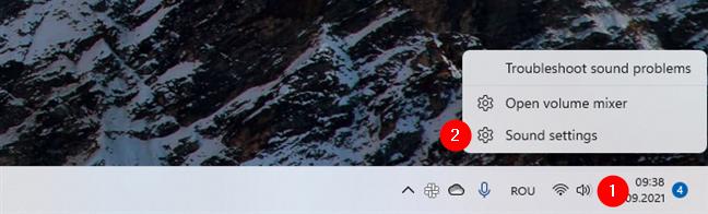 Open Sound settings in Windows 11