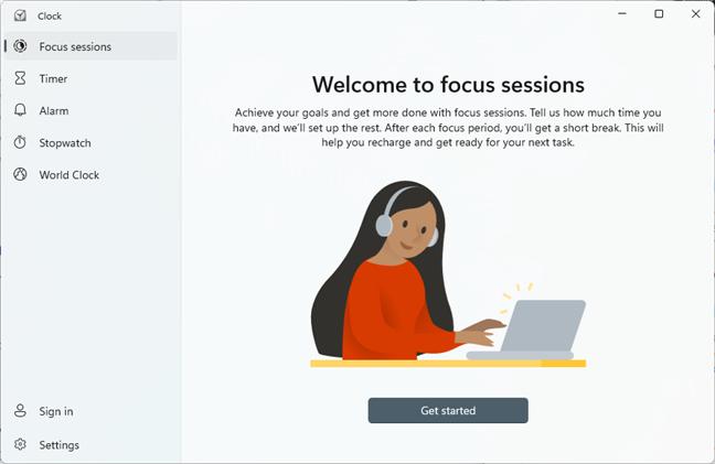 Windows 11's Clock Focus sessions