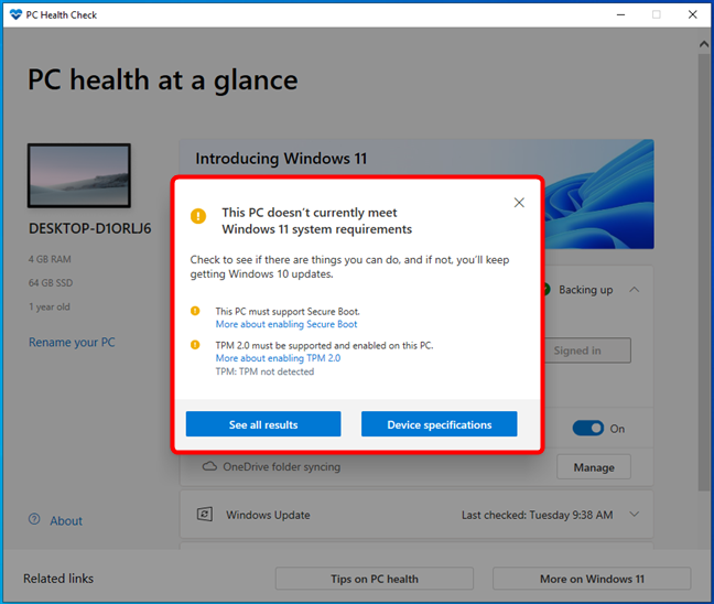 PC Health Check saying that this computer can't run Windows 11