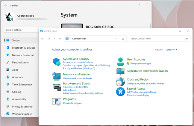 Windows 11's Settings app and Control Panel