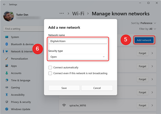 Add a new Wi-Fi network in Settings