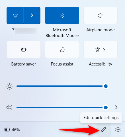 Editing Quick Settings in Windows 11