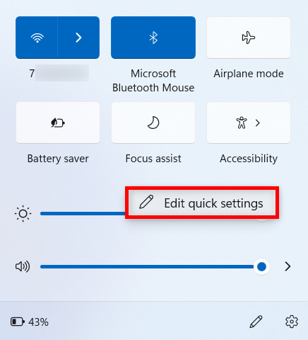 Select Edit quick settings from the right-click menu