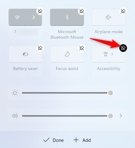 Press the unpin icon to remove a button from the Windows 11 Quick Settings